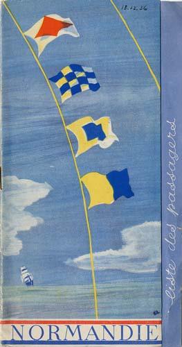 Paquebot s/s Normandie - LISTE PASSAGERS 18.12.36 / 1-1