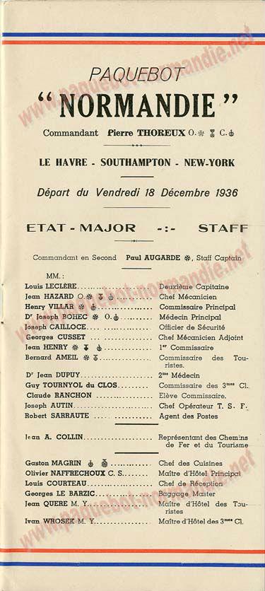 Paquebot s/s Normandie - LISTE PASSAGERS 18.12.36 / 1-2