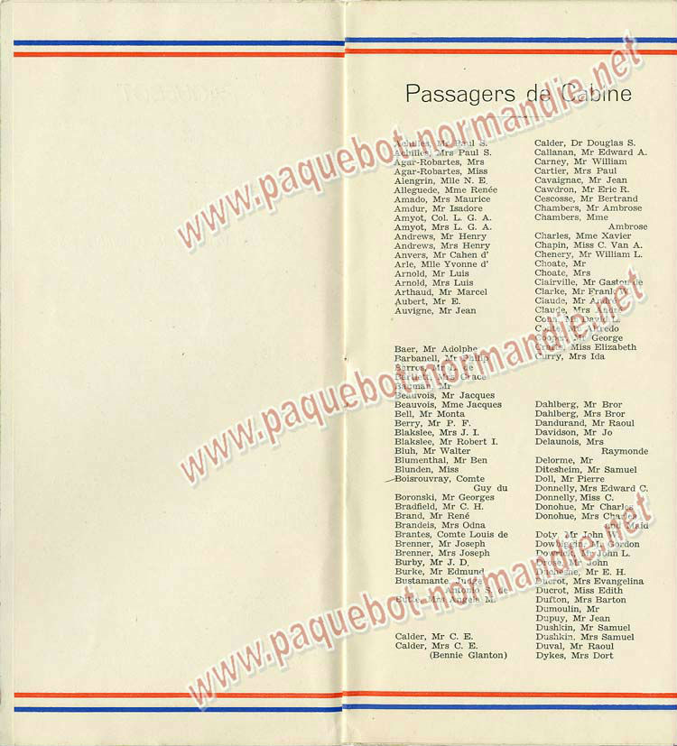 Paquebot s/s Normandie - LISTE PASSAGERS 18.12.36 / 1-3