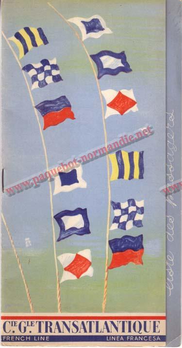 PAQUEBOT NORMANDIE - LISTE DES PASSAGERS DU 21 SEPTEMBRE 1938 - 2ème CLASSE / 2-1
