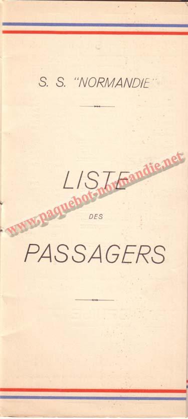 PAQUEBOT NORMANDIE - LISTE DES PASSAGERS DU 21 SEPTEMBRE 1938 - 2ème CLASSE / 2-2