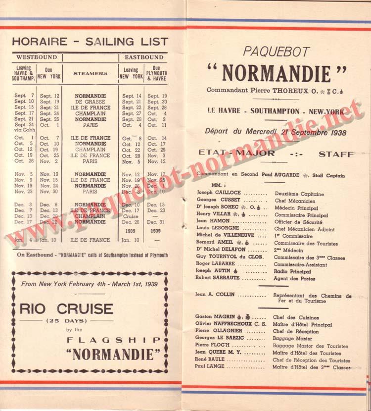 PAQUEBOT NORMANDIE - LISTE DES PASSAGERS DU 21 SEPTEMBRE 1938 - 2ème CLASSE / 2-3