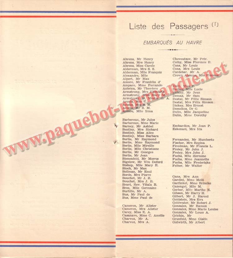 PAQUEBOT NORMANDIE - LISTE DES PASSAGERS DU 21 SEPTEMBRE 1938 - 2ème CLASSE / 2-4
