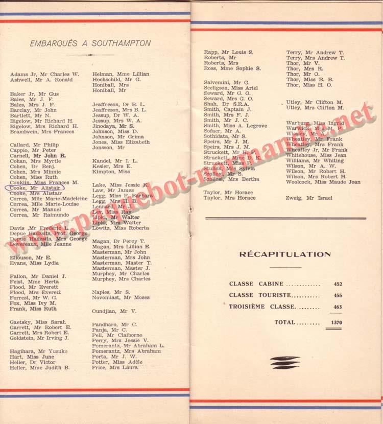 PAQUEBOT NORMANDIE - LISTE DES PASSAGERS DU 21 SEPTEMBRE 1938 - 2ème CLASSE / 2-6