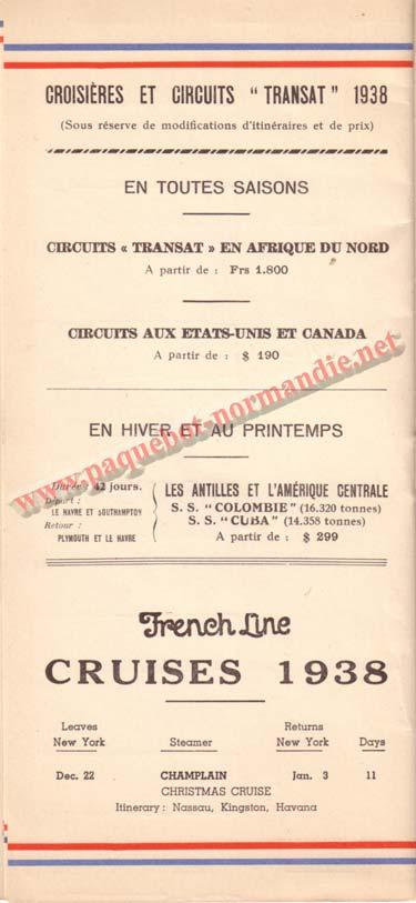 PAQUEBOT NORMANDIE - LISTE DES PASSAGERS DU 21 SEPTEMBRE 1938 - 2ème CLASSE / 2-8