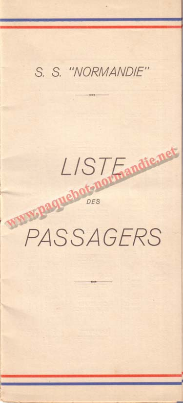 PAQUEBOT NORMANDIE - LISTE DES PASSAGERS DU 23 MARS 1938 - 2ème CLASSE / 2-1