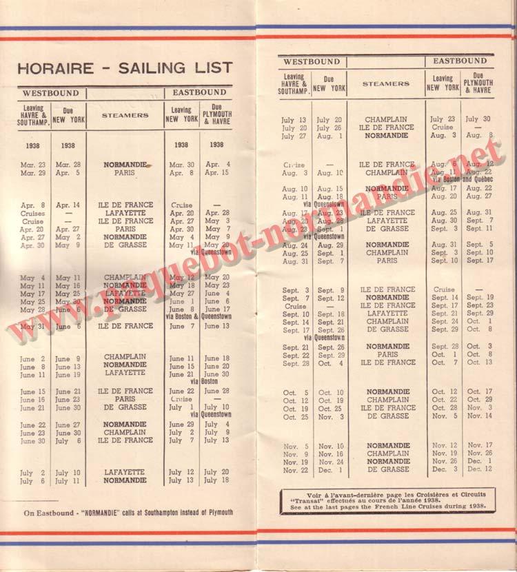 PAQUEBOT NORMANDIE - LISTE DES PASSAGERS DU 23 MARS 1938 - 2ème CLASSE / 2-2