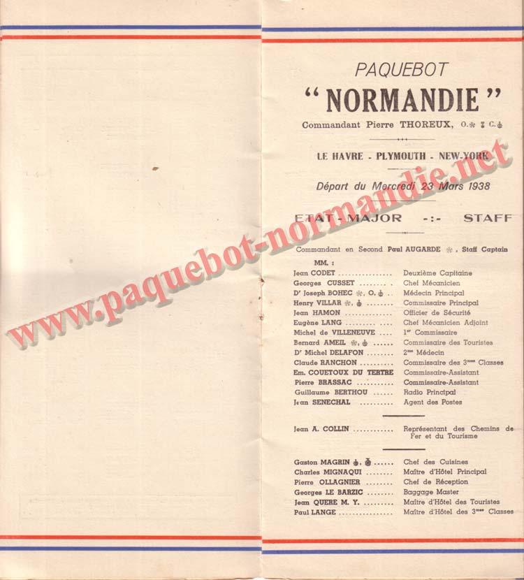 PAQUEBOT NORMANDIE - LISTE DES PASSAGERS DU 23 MARS 1938 - 2ème CLASSE / 2-3