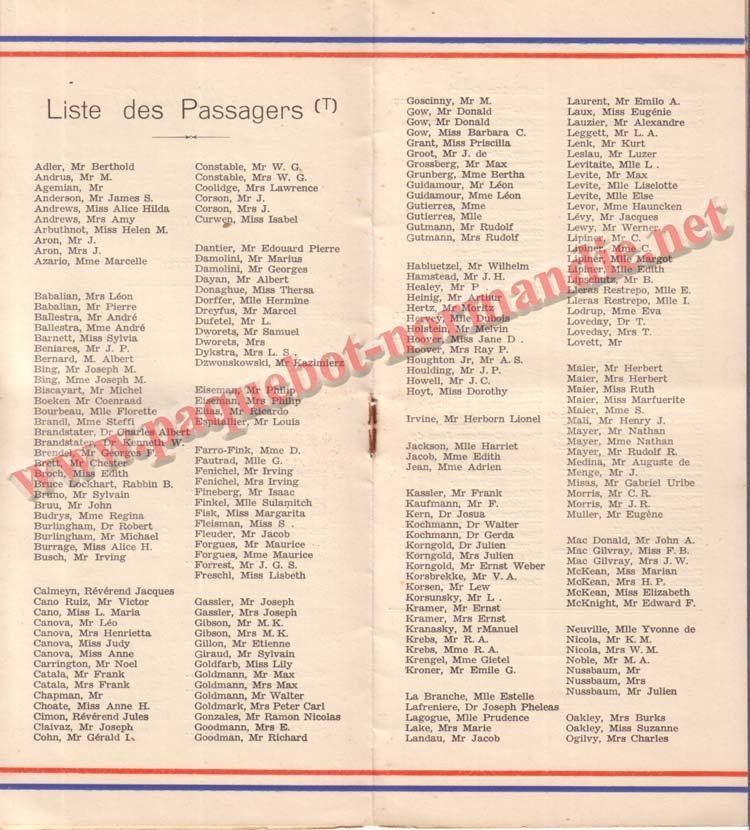 PAQUEBOT NORMANDIE - LISTE DES PASSAGERS DU 23 MARS 1938 - 2ème CLASSE / 2-4