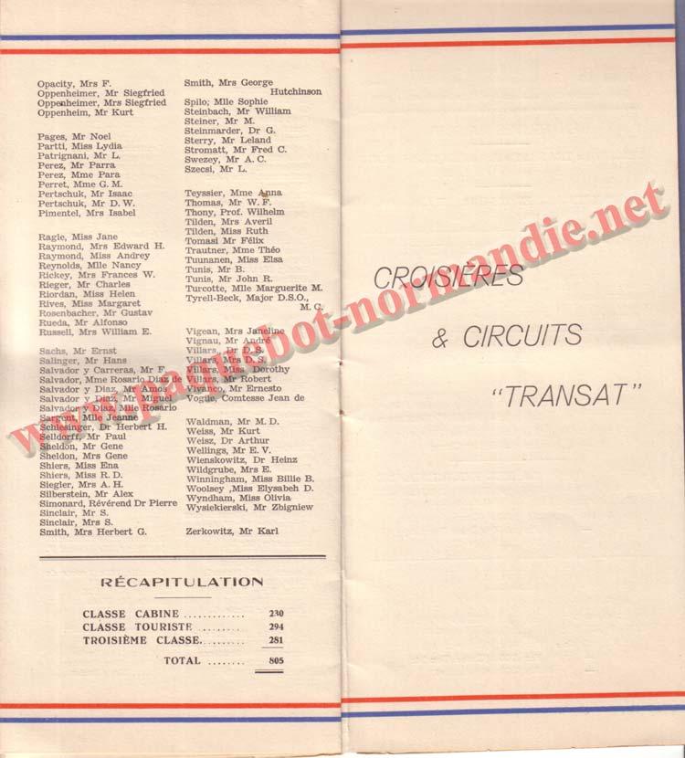 PAQUEBOT NORMANDIE - LISTE DES PASSAGERS DU 23 MARS 1938 - 2ème CLASSE / 2-5