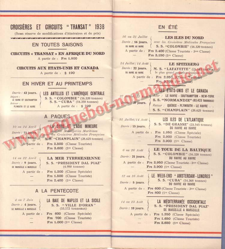 PAQUEBOT NORMANDIE - LISTE DES PASSAGERS DU 23 MARS 1938 - 2ème CLASSE / 2-6