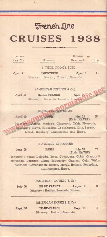 PAQUEBOT NORMANDIE - LISTE DES PASSAGERS DU 23 MARS 1938 - 2ème CLASSE / 2-7