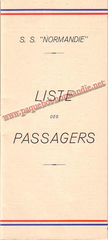PAQUEBOT NORMANDIE - LISTE PASSAGERS DU 23 JUIN 1937 - 2ème CLASSE / 2-1