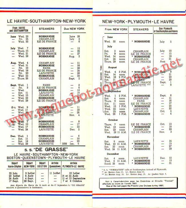 PAQUEBOT NORMANDIE - LISTE PASSAGERS DU 23 JUIN 1937 - 2ème CLASSE / 2-2