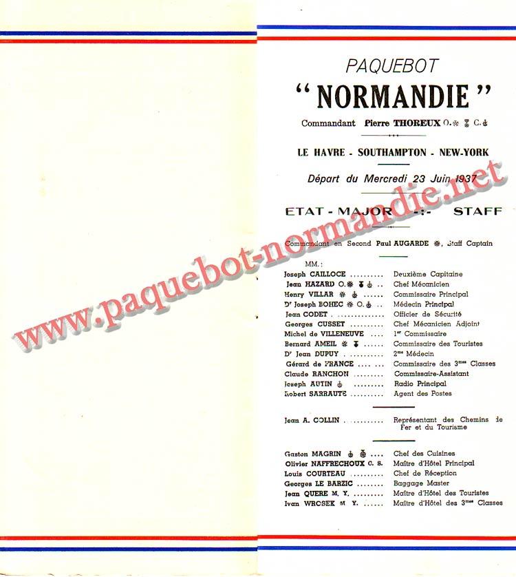 PAQUEBOT NORMANDIE - LISTE PASSAGERS DU 23 JUIN 1937 - 2ème CLASSE / 2-3