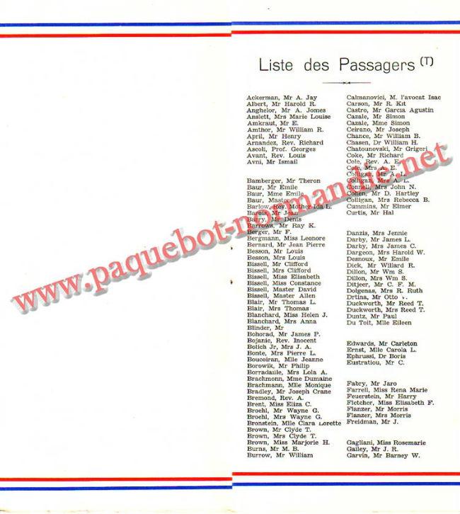 PAQUEBOT NORMANDIE - LISTE PASSAGERS DU 23 JUIN 1937 - 2ème CLASSE / 2-4