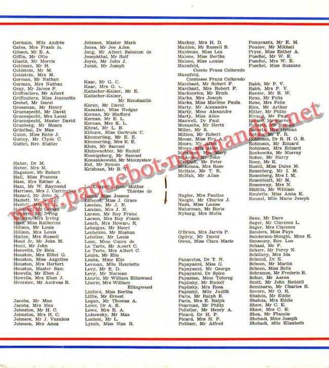 PAQUEBOT NORMANDIE - LISTE PASSAGERS DU 23 JUIN 1937 - 2ème CLASSE / 2-5