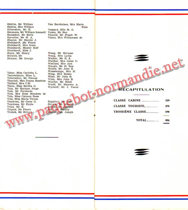 PAQUEBOT NORMANDIE - LISTE PASSAGERS DU 23 JUIN 1937 - 2ème CLASSE / 2-6