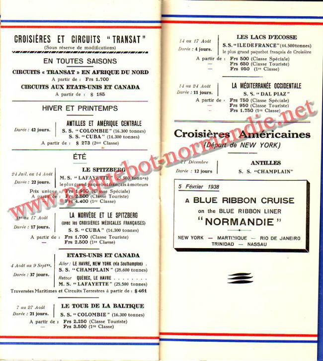 PAQUEBOT NORMANDIE - LISTE PASSAGERS DU 23 JUIN 1937 - 2ème CLASSE / 2-8