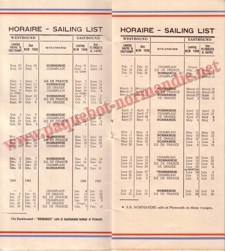 PAQUEBOT NORMANDIE - LISTE DES PASSAGERS DU 23 AOUT1939 - 2ème CLASSE / 2-2