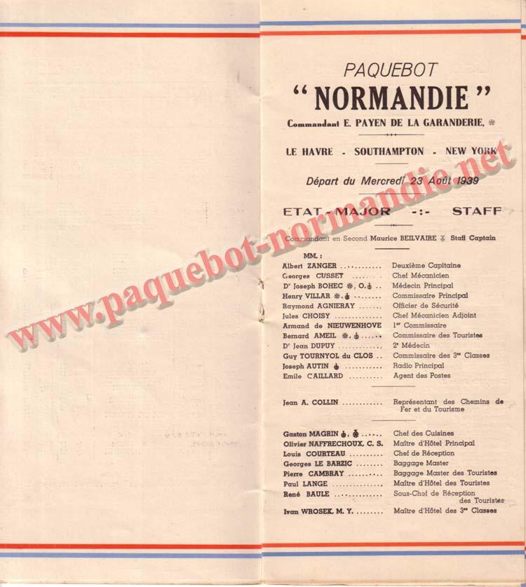 PAQUEBOT NORMANDIE - LISTE DES PASSAGERS DU 23 AOUT1939 - 2ème CLASSE / 2-3