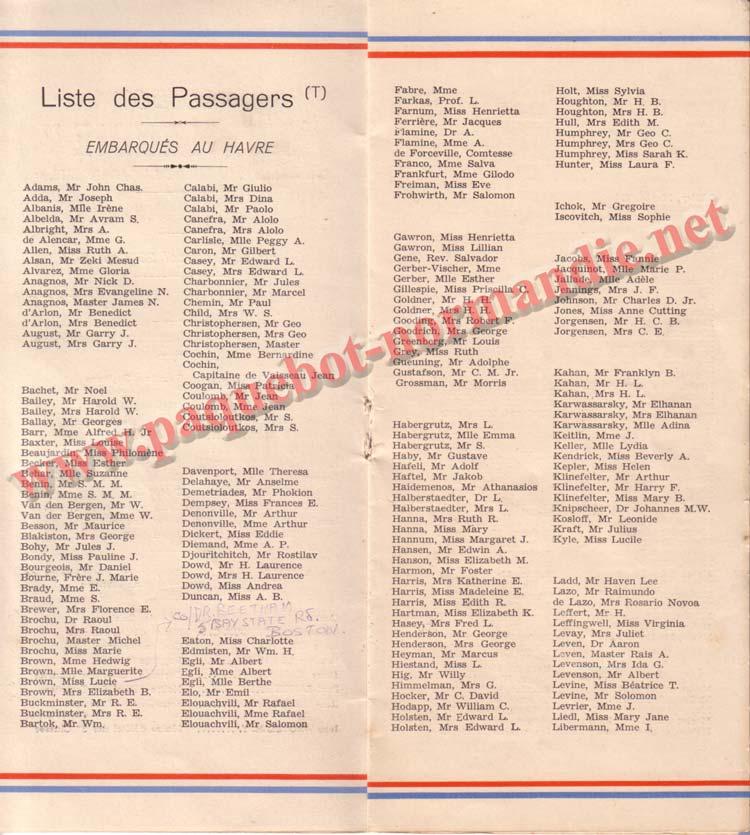 PAQUEBOT NORMANDIE - LISTE DES PASSAGERS DU 23 AOUT1939 - 2ème CLASSE / 2-4