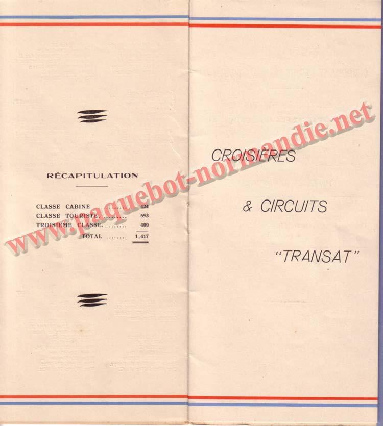 PAQUEBOT NORMANDIE - LISTE DES PASSAGERS DU 23 AOUT1939 - 2ème CLASSE / 2-7