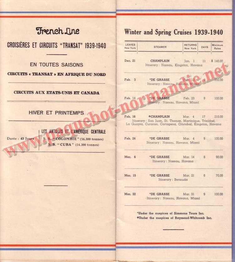 PAQUEBOT NORMANDIE - LISTE DES PASSAGERS DU 23 AOUT1939 - 2ème CLASSE / 2-8