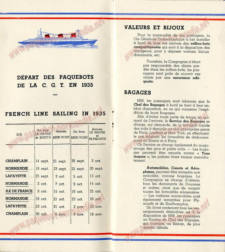 PAQUEBOT S.S NORMANDIE - LISTE PASSAGERS DU 23 OCTOBRE 1935 - 1ère et 2ème CLASSE / 1-2-2