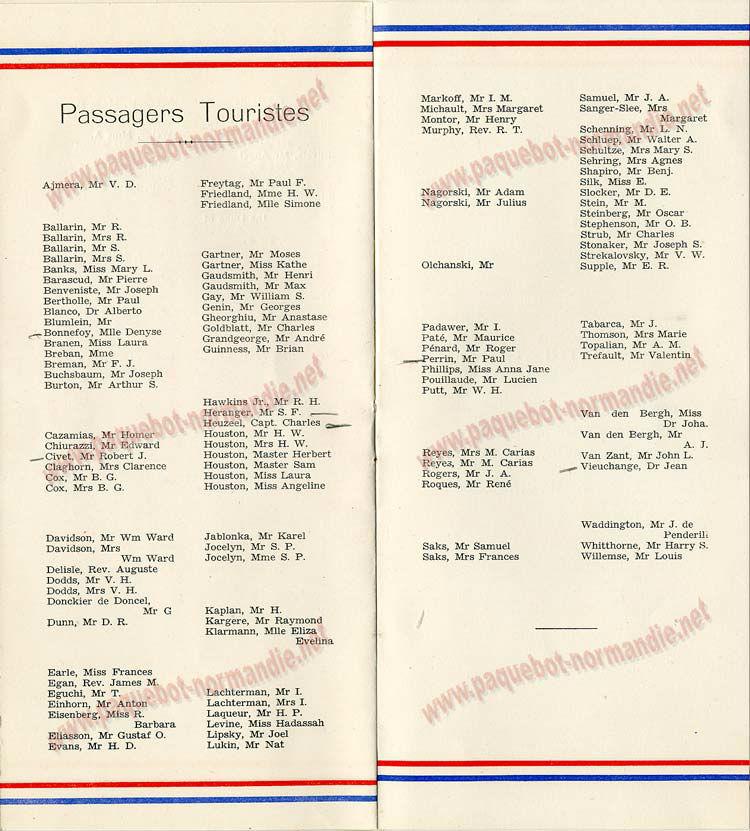 PAQUEBOT S.S NORMANDIE - LISTE PASSAGERS DU 23 OCTOBRE 1935 - 1ère et 2ème CLASSE / 1-2-6