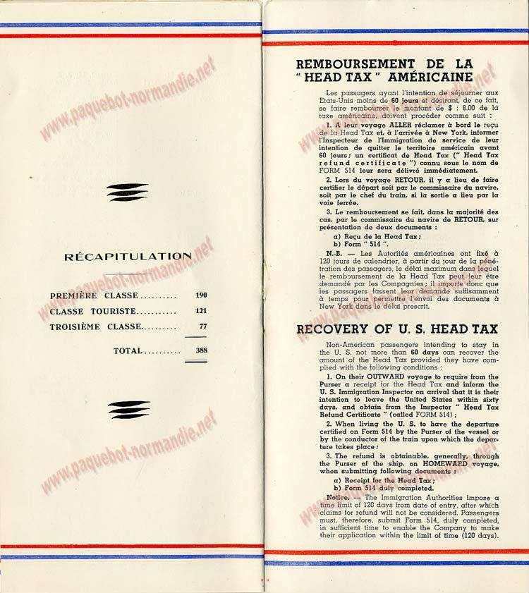 PAQUEBOT S.S NORMANDIE - LISTE PASSAGERS DU 23 OCTOBRE 1935 - 1ère et 2ème CLASSE / 1-2-7