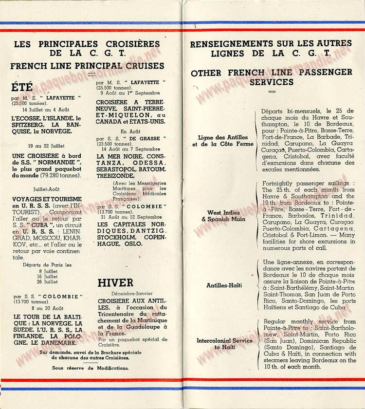 PAQUEBOT S.S NORMANDIE - LISTE PASSAGERS DU 23 OCTOBRE 1935 - 1ère et 2ème CLASSE / 1-2-8