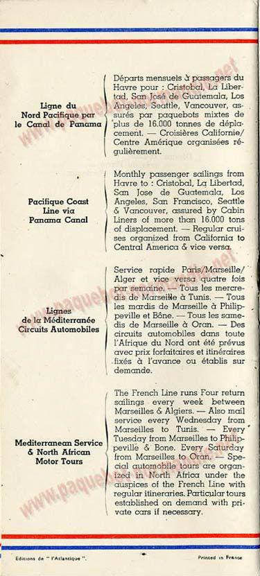PAQUEBOT S.S NORMANDIE - LISTE PASSAGERS DU 23 OCTOBRE 1935 - 1ère et 2ème CLASSE / 1-2-9