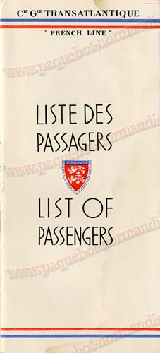 Paquebot s/s Normandie - LISTE PASSAGERS - PASSENGERS LIST 24.07.35 / 1-1