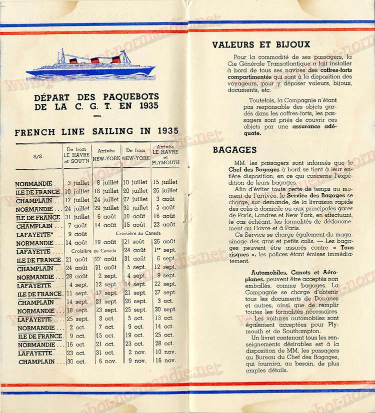 Paquebot s/s Normandie - LISTE PASSAGERS - PASSENGERS LIST 24.07.35 / 1-2