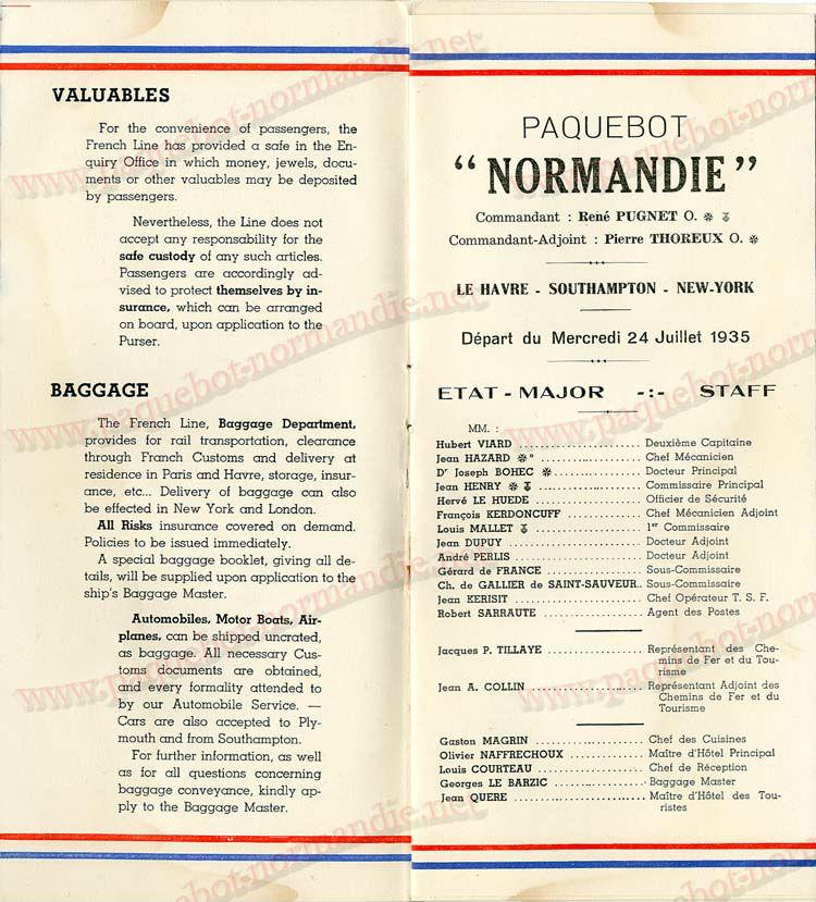 Paquebot s/s Normandie - LISTE PASSAGERS - PASSENGERS LIST 24.07.35 / 1-3