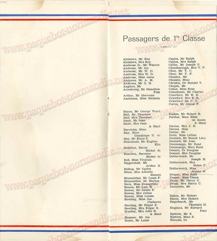 Paquebot s/s Normandie - LISTE PASSAGERS - PASSENGERS LIST 24.07.35 / 1-4
