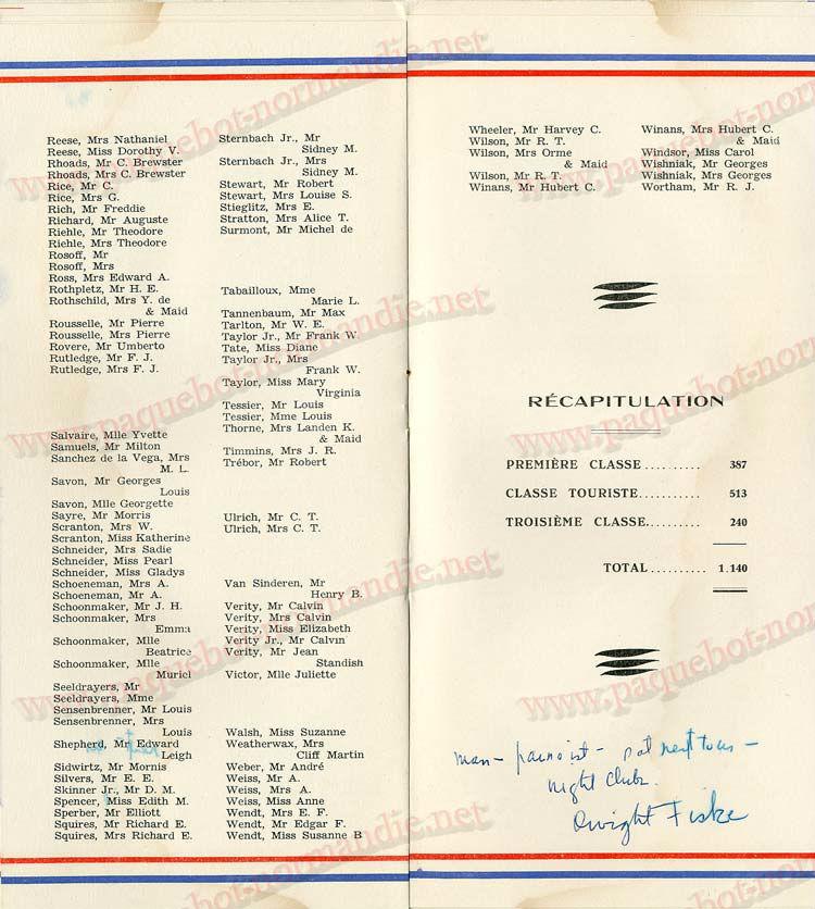 Paquebot s/s Normandie - LISTE PASSAGERS - PASSENGERS LIST 24.07.35 / 1-6