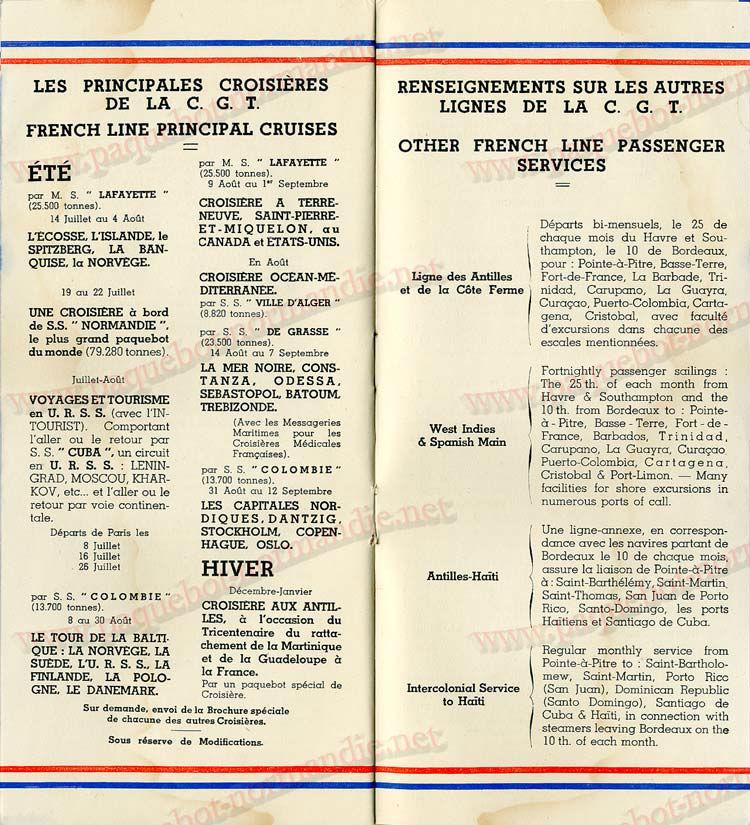 Paquebot s/s Normandie - LISTE PASSAGERS - PASSENGERS LIST 24.07.35 / 1-8