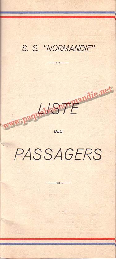PAQUEBOT NORMANDIE - LISTE DES PASSAGERS DU 24 AOUT 1938 - 2ème CLASSE / 2-1