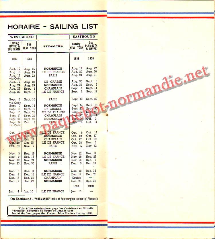 PAQUEBOT NORMANDIE - LISTE DES PASSAGERS DU 24 AOUT 1938 - 2ème CLASSE / 2-2