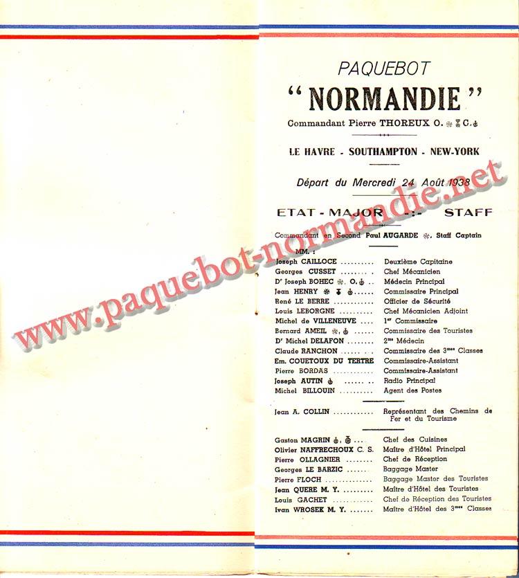 PAQUEBOT NORMANDIE - LISTE DES PASSAGERS DU 24 AOUT 1938 - 2ème CLASSE / 2-3
