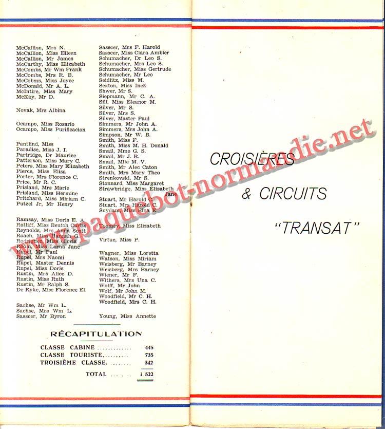 PAQUEBOT NORMANDIE - LISTE DES PASSAGERS DU 24 AOUT 1938 - 2ème CLASSE / 2-7