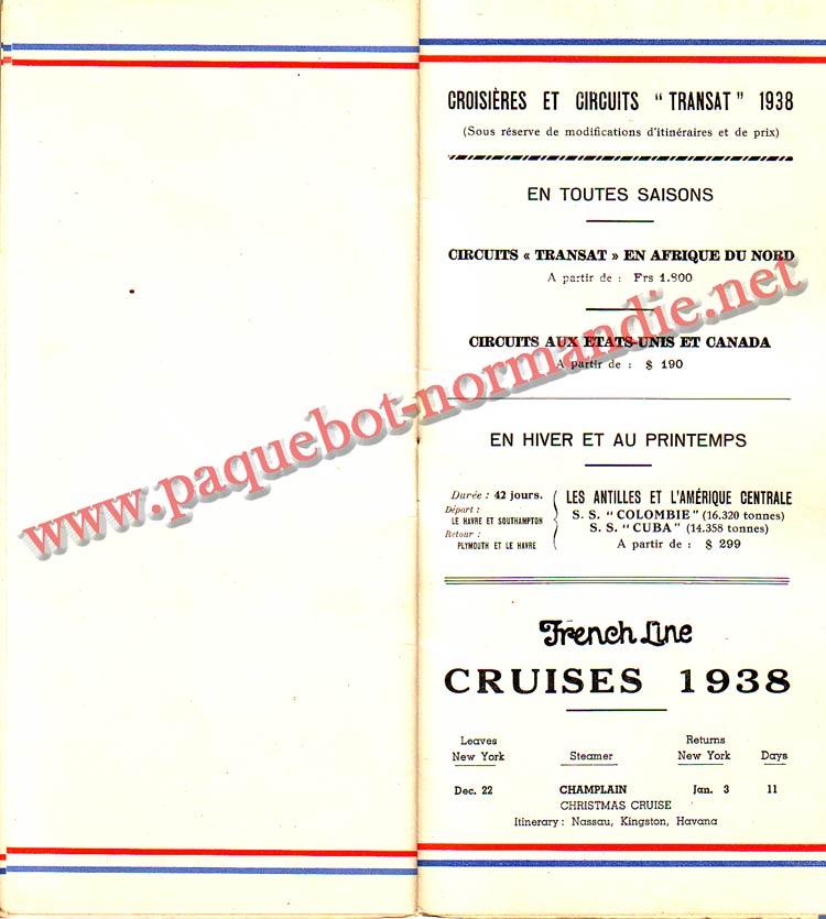 PAQUEBOT NORMANDIE - LISTE DES PASSAGERS DU 24 AOUT 1938 - 2ème CLASSE / 2-8