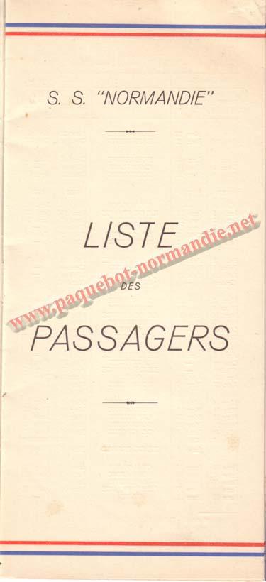 PAQUEBOT NORMANDIE - LISTE DES PASSAGERS DU 24 NOVEMBRE 1937 - 1ère CLASSE / 1-1