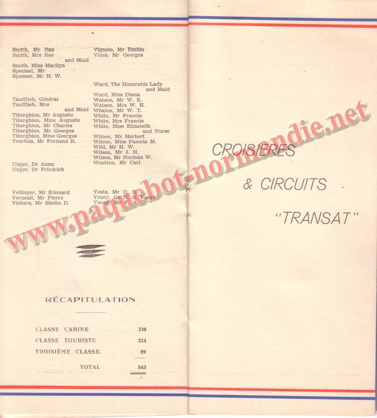 PAQUEBOT NORMANDIE - LISTE DES PASSAGERS DU 3 NOVEMBRE 1937 - 1ère CLASSE / 1-5