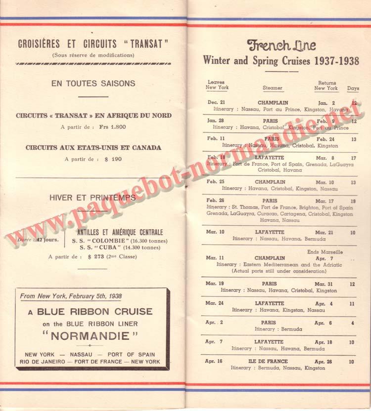 PAQUEBOT NORMANDIE - LISTE DES PASSAGERS DU 3 NOVEMBRE 1937 - 1ère CLASSE / 1-6