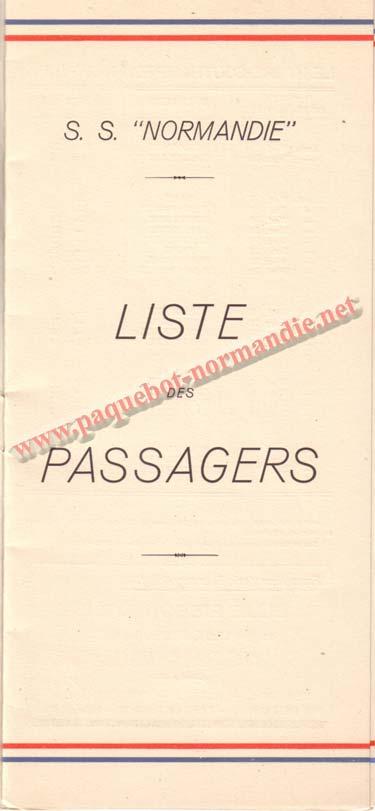 PAQUEBOT NORMANDIE - LISTE DES PASSAGERS DU 25 AOUT 1937 - 2ème CLASSE / 2-1
