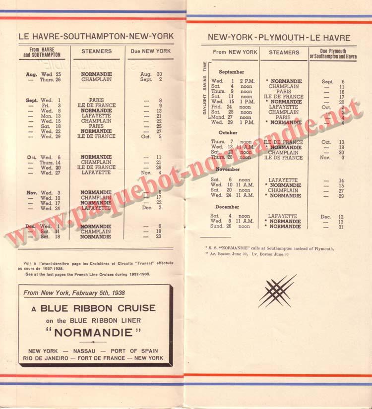 PAQUEBOT NORMANDIE - LISTE DES PASSAGERS DU 25 AOUT 1937 - 2ème CLASSE / 2-2