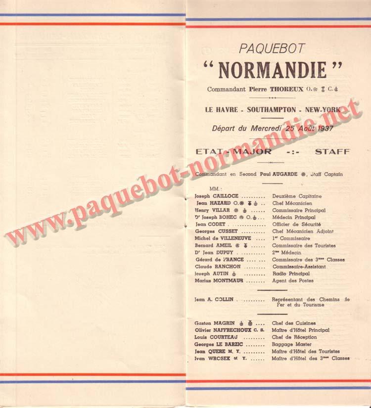 PAQUEBOT NORMANDIE - LISTE DES PASSAGERS DU 25 AOUT 1937 - 2ème CLASSE / 2-3